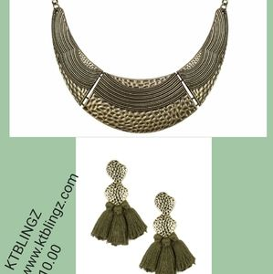 Brass necklace and Earrings
